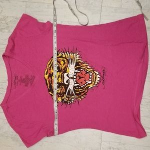 Ed Hardy Tops - XXL (19) Junior Magenta Ed Hardy Tiger T-Shirt
